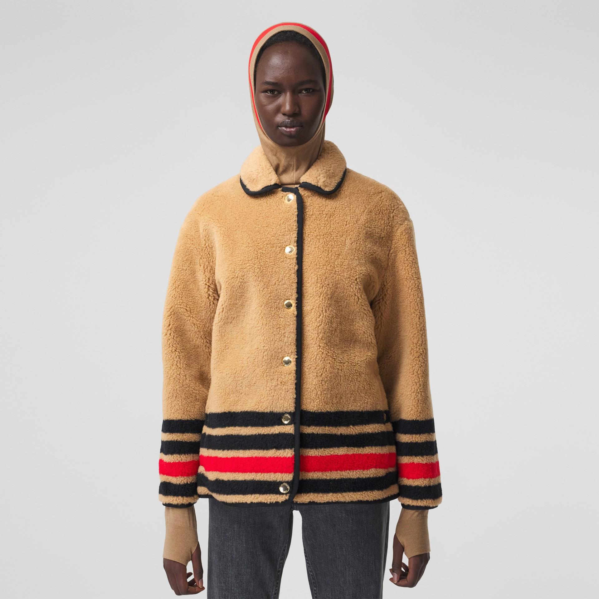 Stripe Intarsia Fleece Jacket in Light Camel - Women | Burberry Canada - gallery image 5