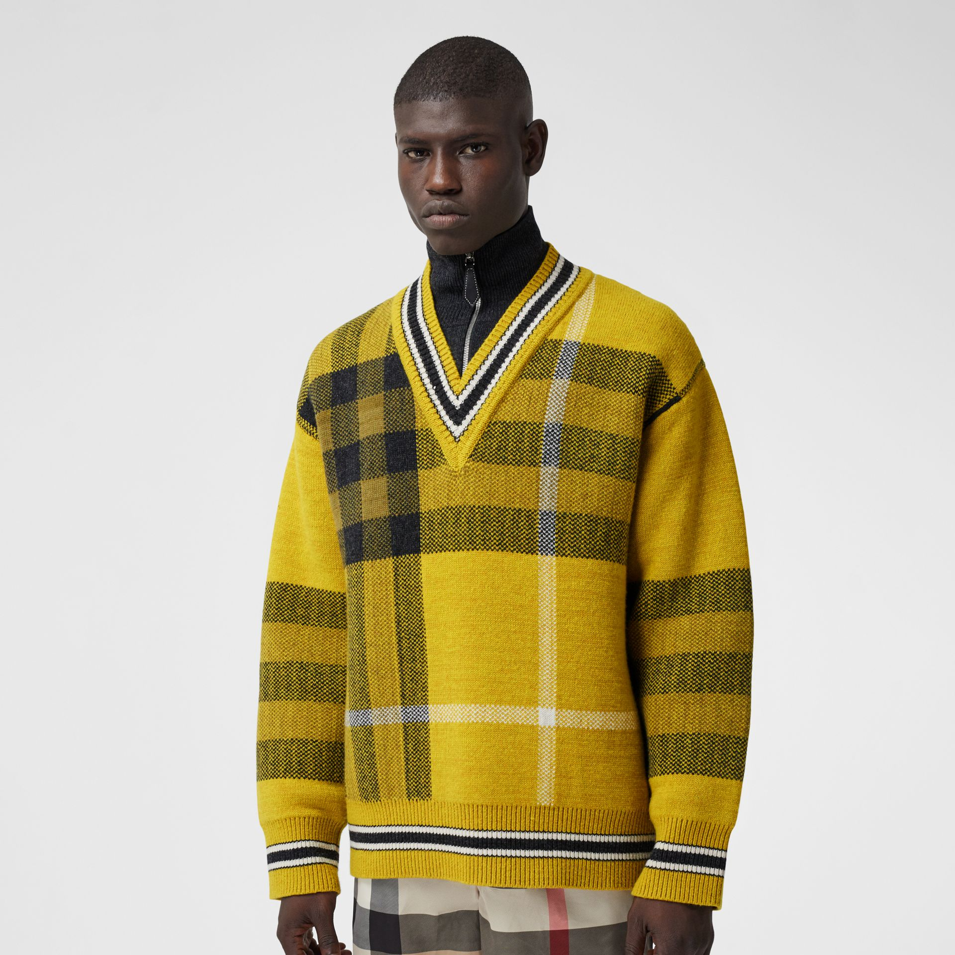 Check Wool Cashmere Jacquard Sweater in Bright Yellow - Men | Burberry - gallery image 0