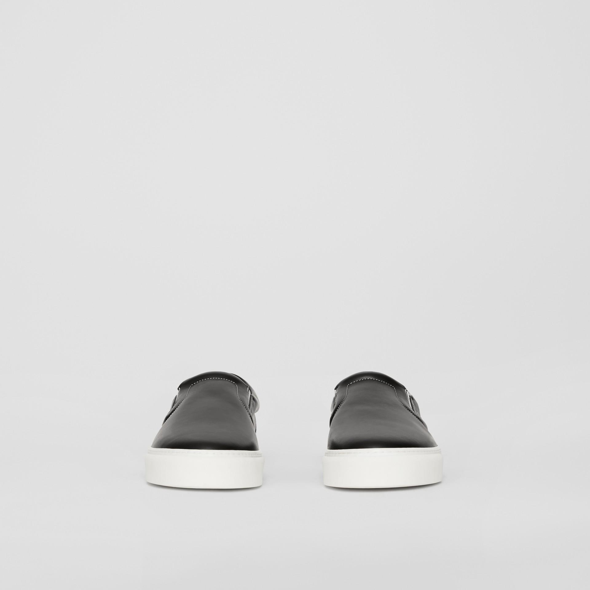 Rainbow Print Leather Slip-on Sneakers in Black - Women   Burberry United Kingdom - gallery image 3