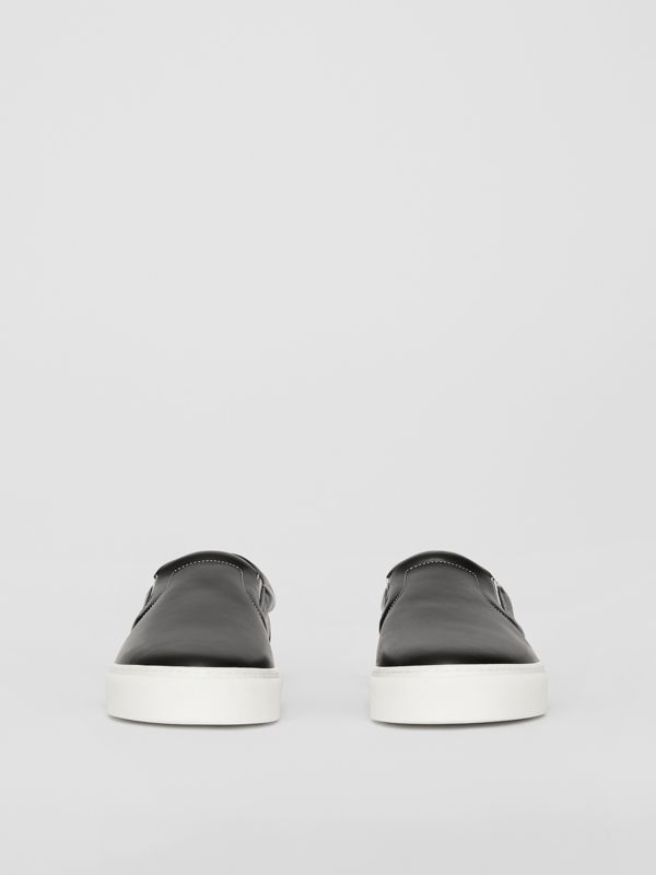 Rainbow Print Leather Slip-on Sneakers in Black - Women   Burberry United Kingdom - cell image 3