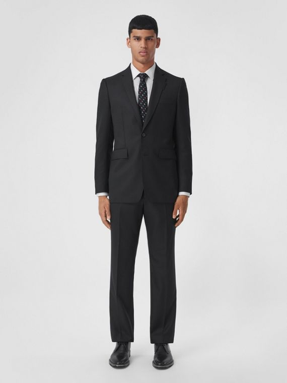 Classic Fit Wool Cashmere Tailored Trousers in Black
