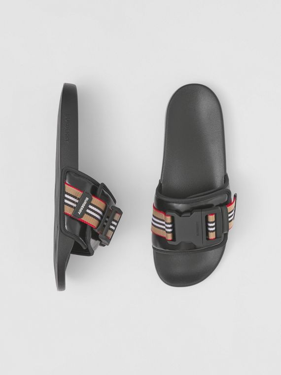 Icon Stripe Trim Coated Canvas Slides in Black