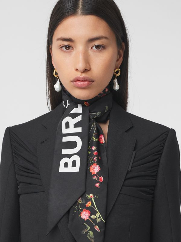 Montage Print Silk Skinny Scarf in Black | Burberry - cell image 2