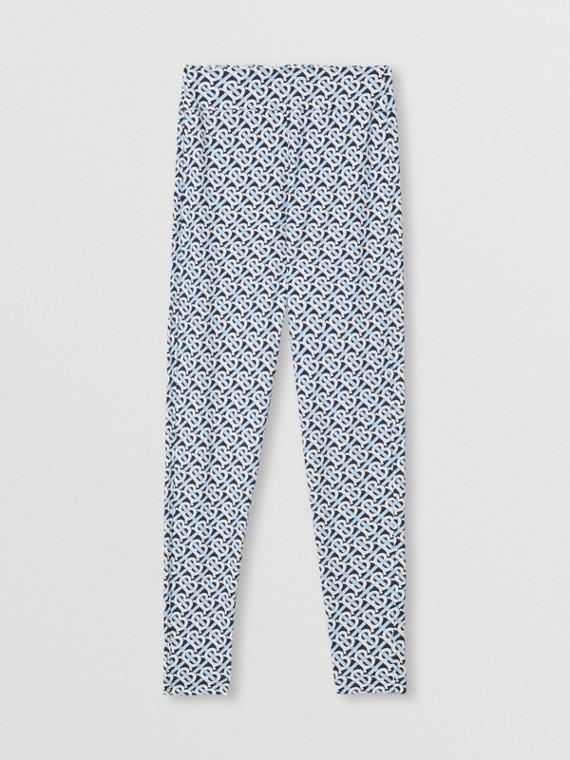 Leggings in jersey stretch con stampa monogramma (Blu Cobalto)