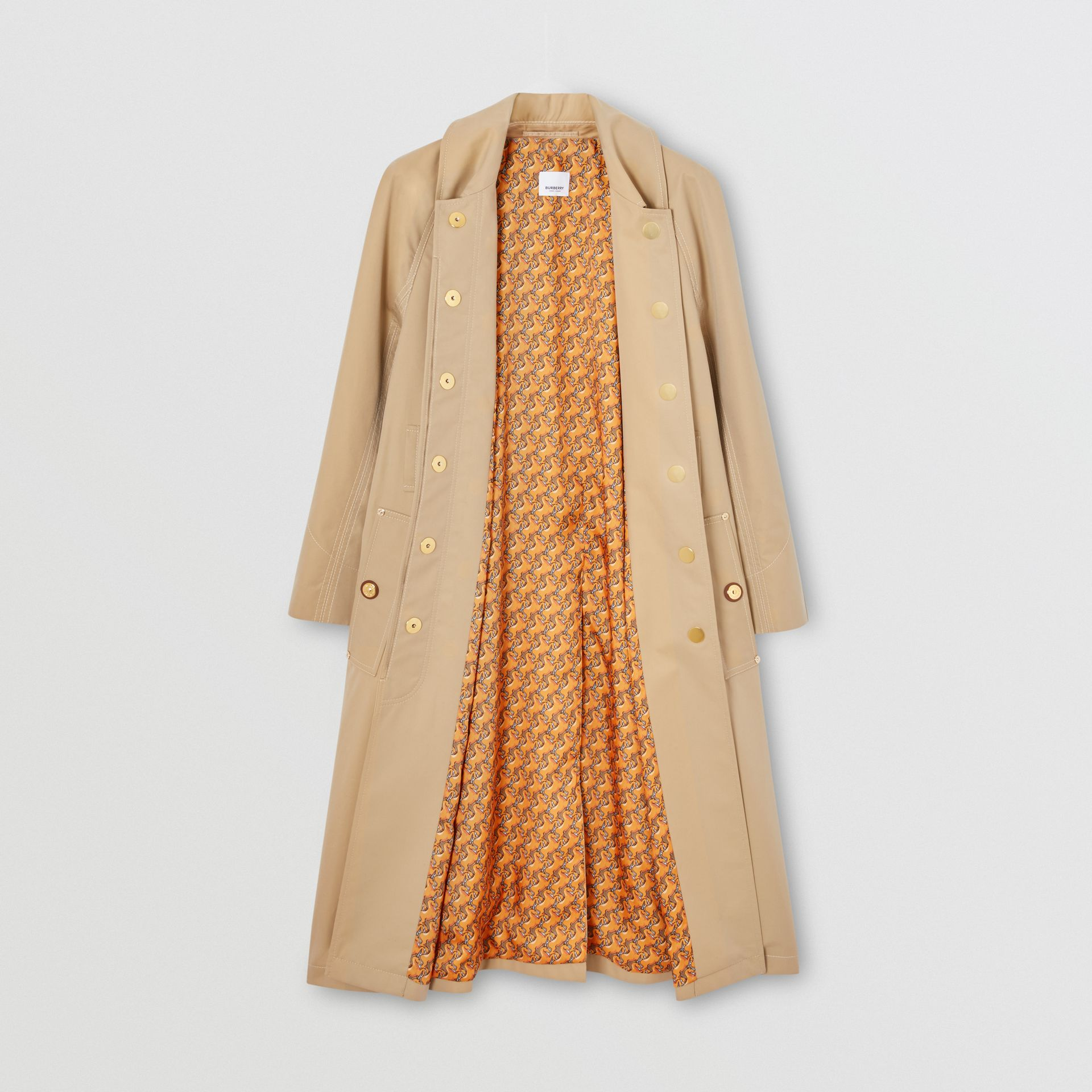 Custom Fit Tropical Gabardine Belted Car Coat in Honey - Women | Burberry - gallery image 1