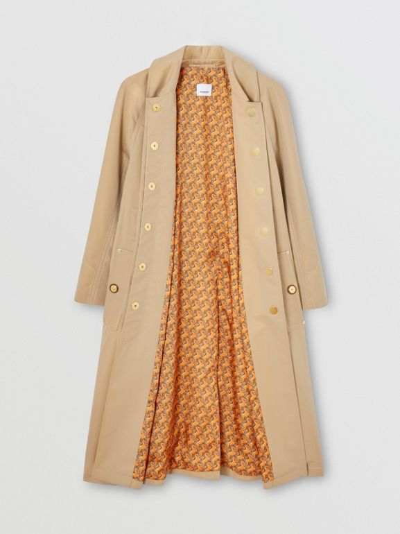 Custom Fit Tropical Gabardine Belted Car Coat in Honey - Women | Burberry - cell image 1