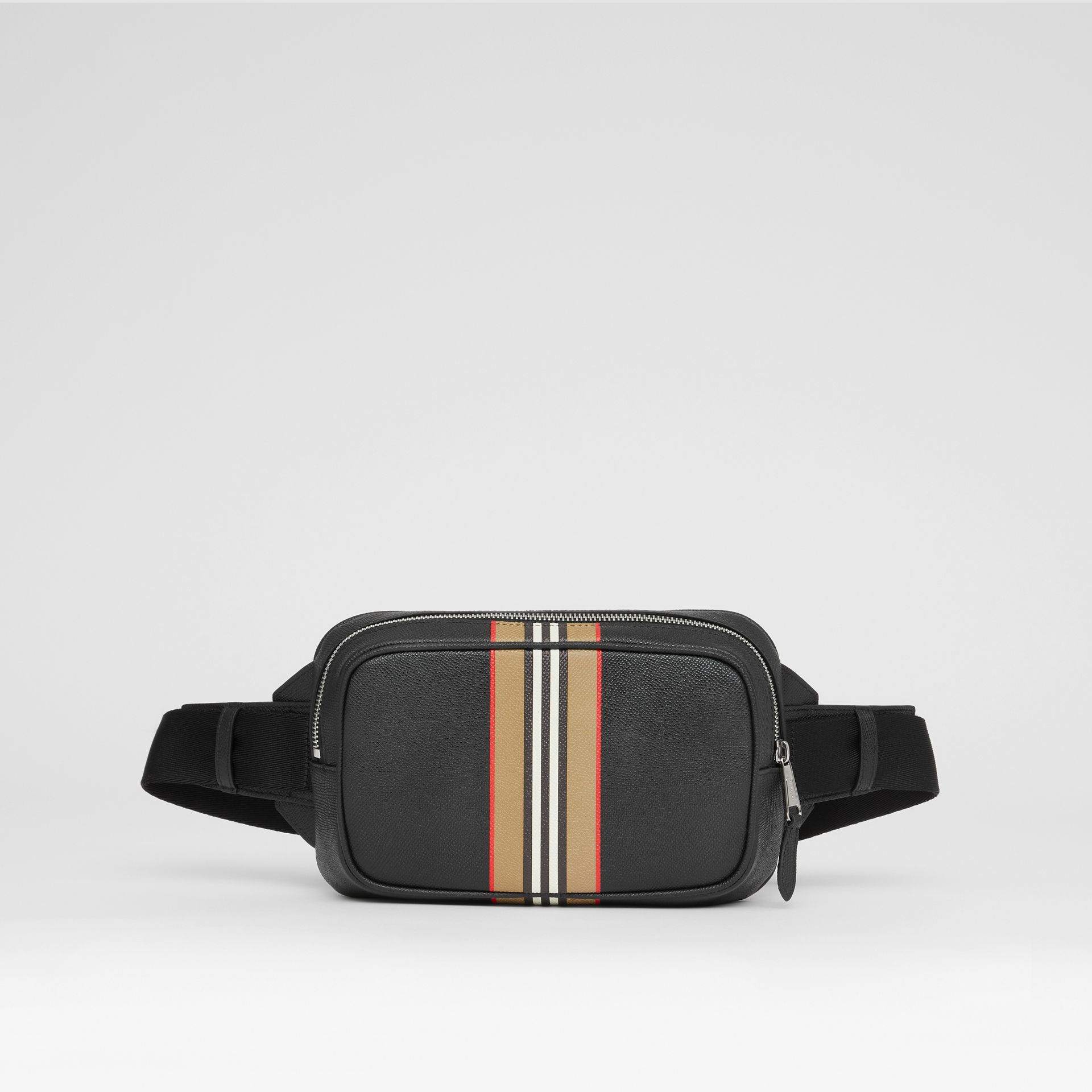 Icon Stripe Print Grainy Leather Bum Bag in Black - Men | Burberry - gallery image 0