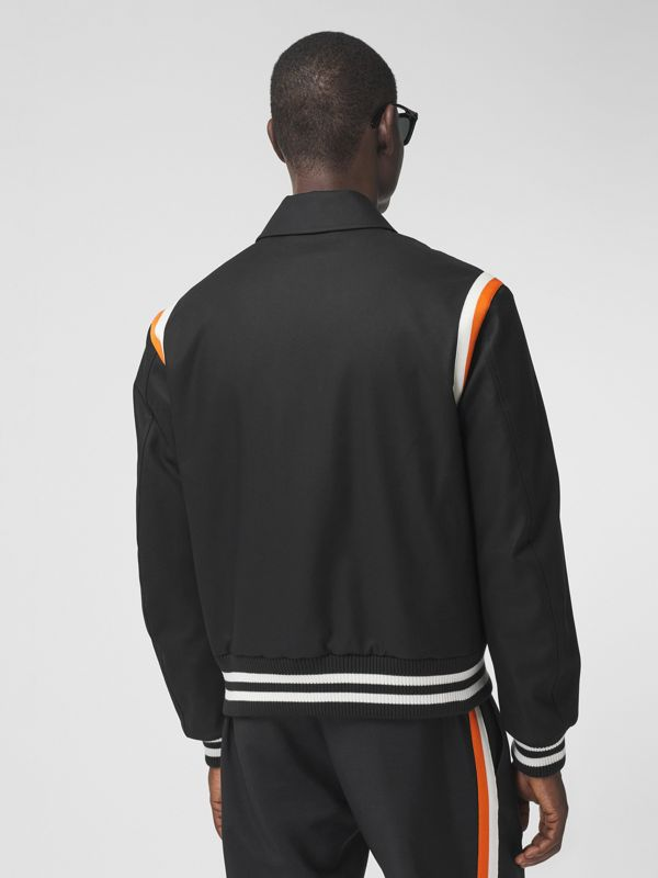 Embroidered Logo Cotton Gabardine Bomber Jacket in Black - Men | Burberry - cell image 2