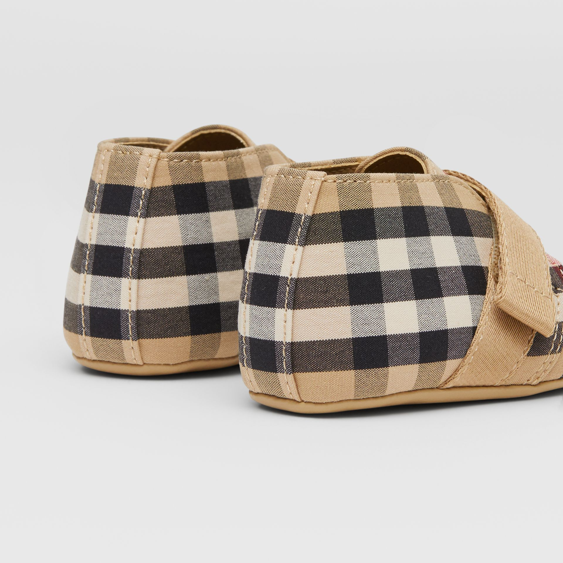 Vintage Check Cotton Booties in Archive Beige - Children | Burberry United Kingdom - gallery image 1