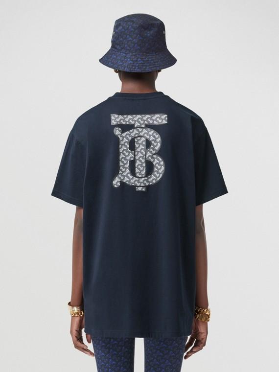 Oversize-T-Shirt aus Baumwolle mit Monogrammmotiv (Kohlblau)