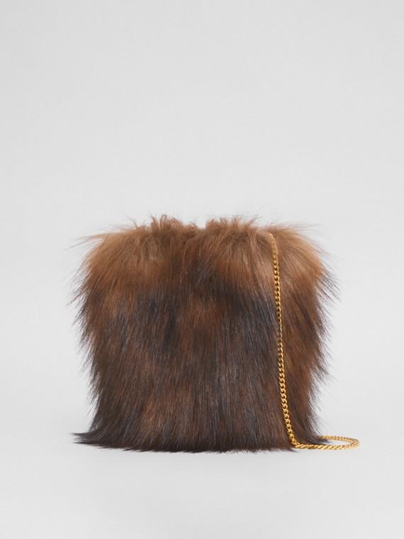 Micro Faux Fur Lola Bucket Bag in Dark Brown