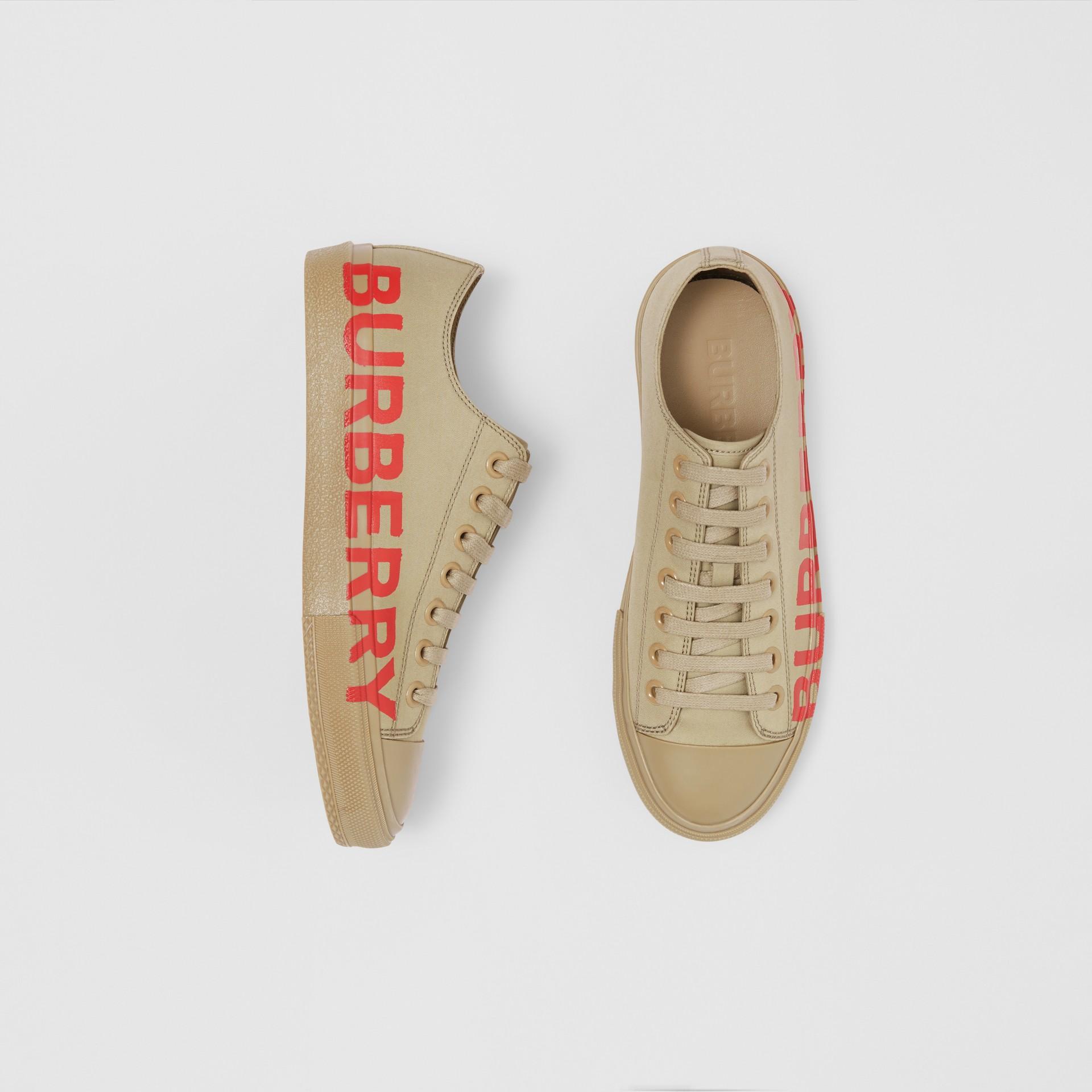 Logo Print Cotton Gabardine Sneakers in Dark Honey - Women | Burberry - gallery image 0