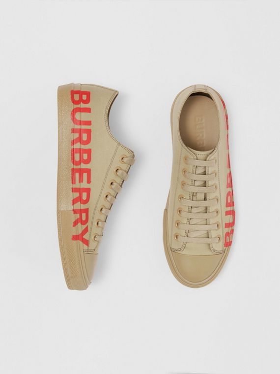Logo Print Cotton Gabardine Sneakers in Dark Honey