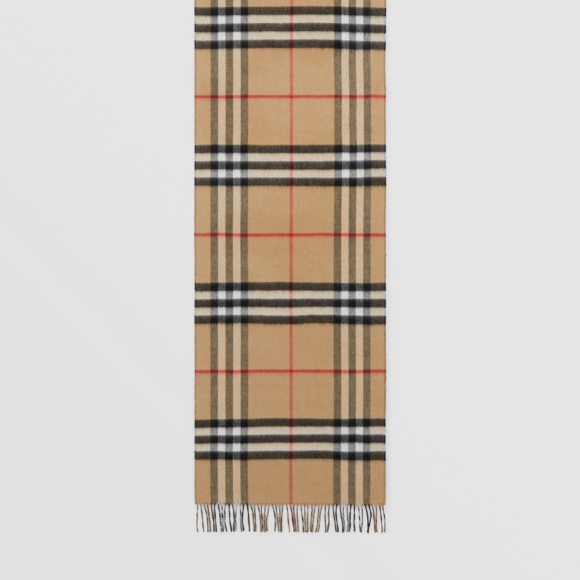 Reversible Check Cashmere Scarf in Black | Burberry - gallery image 4
