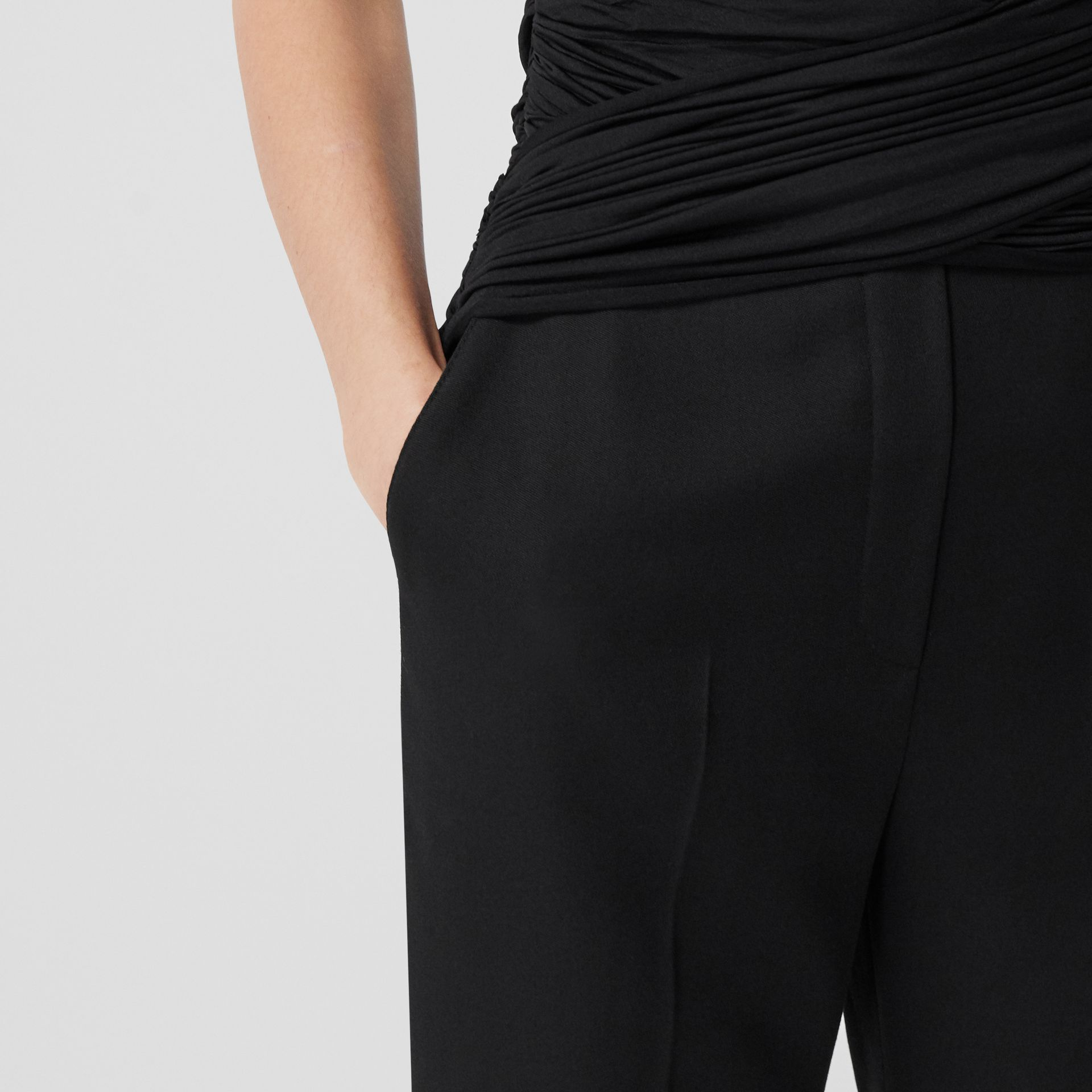 Jersey Sash Detail Wool Tailored Trousers in Black - Women | Burberry - gallery image 1