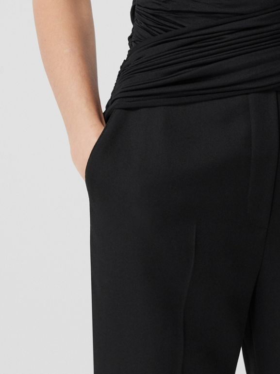 Jersey Sash Detail Wool Tailored Trousers in Black - Women | Burberry - cell image 1