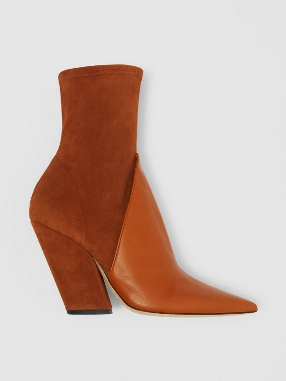 Panelled Suede and Lambskin Ankle Boots in Nutmeg