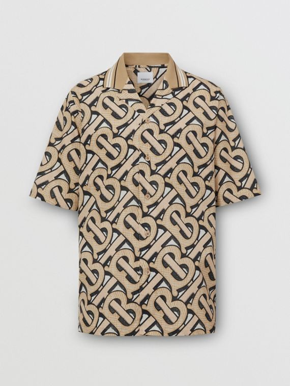 Short-sleeve Monogram Print Cotton Shirt – Unisex in Dark Beige