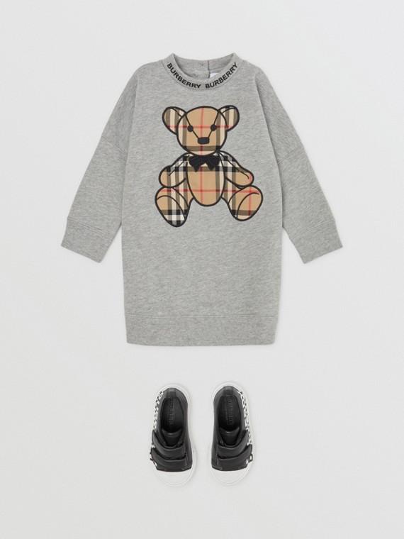 Thomas Bear Appliqué Cotton Sweater Dress in Grey Melange