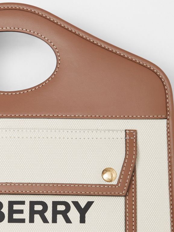 Small Two-tone Canvas and Leather Pocket Tote in Natural/malt Brown - Women | Burberry - cell image 1