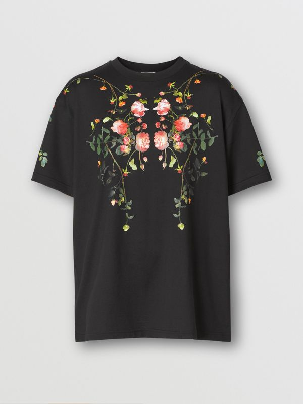 Rose Print Cotton Oversized T-shirt in Black - Women | Burberry - cell image 3