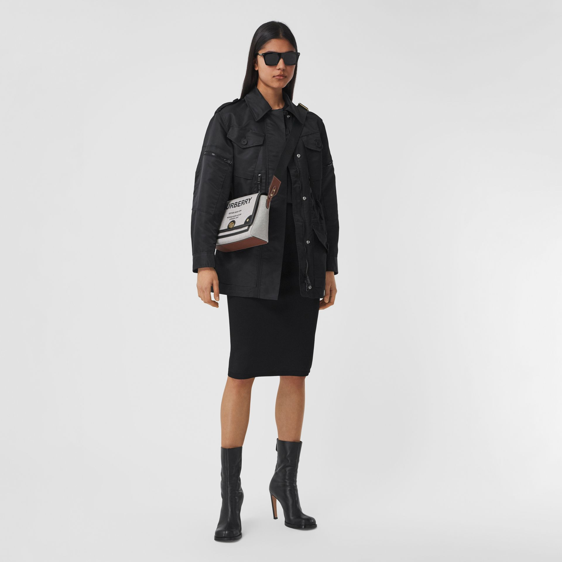 Horseferry Print Canvas Note Crossbody Bag in Black/black/tan - Women | Burberry Hong Kong S.A.R. - gallery image 5