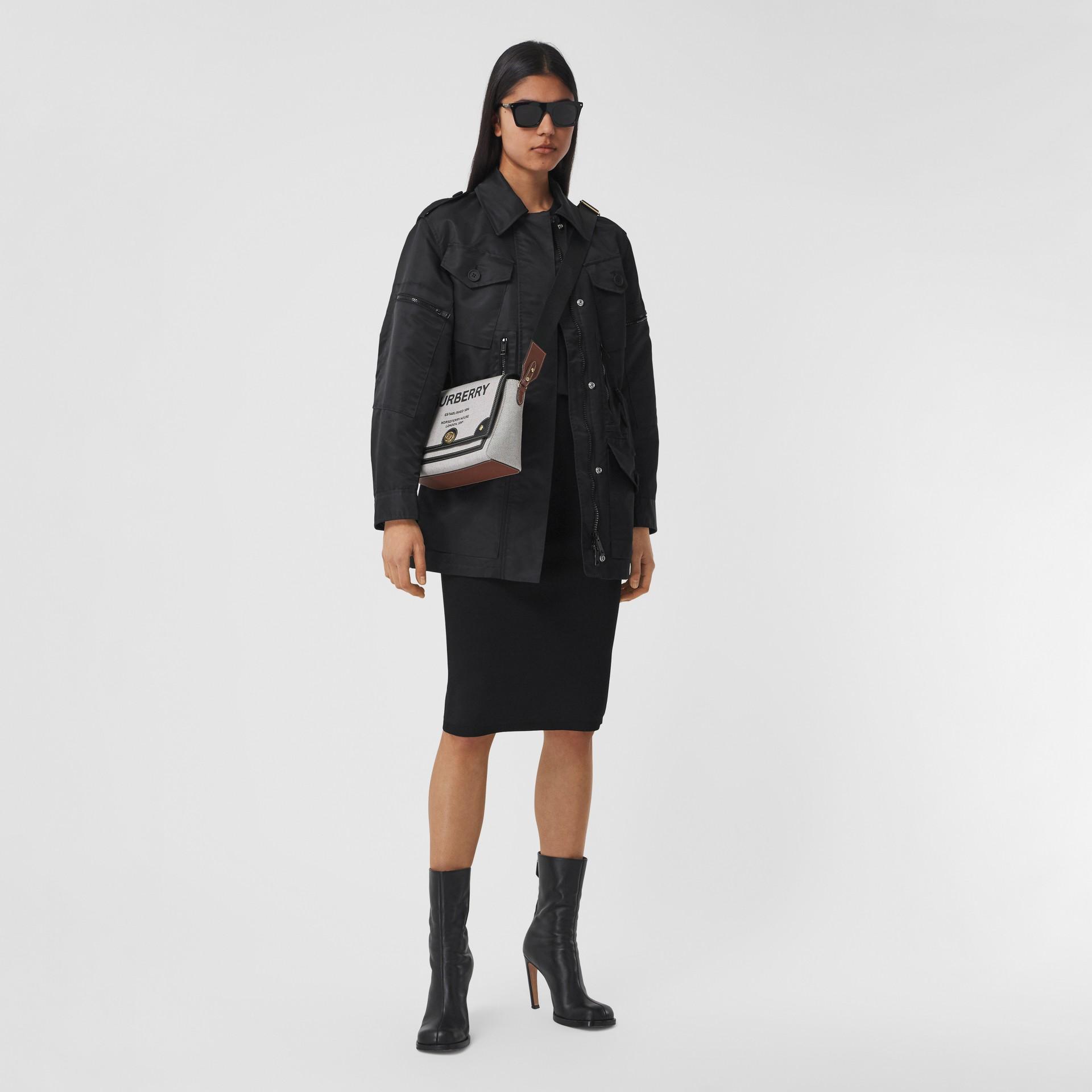 Horseferry Print Canvas Note Crossbody Bag in Black/black/tan - Women | Burberry - gallery image 5