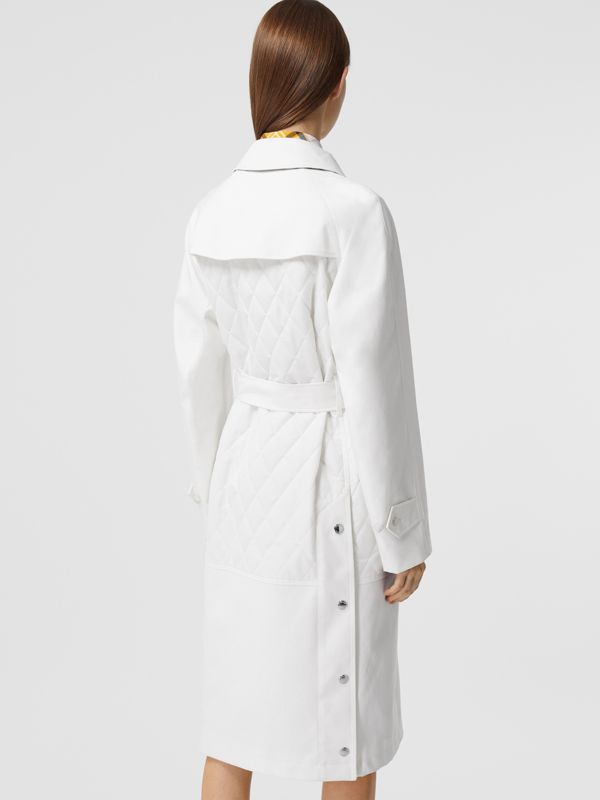 Diamond Quilted Panel Cotton Gabardine Car Coat in Natural White - Women | Burberry - cell image 2