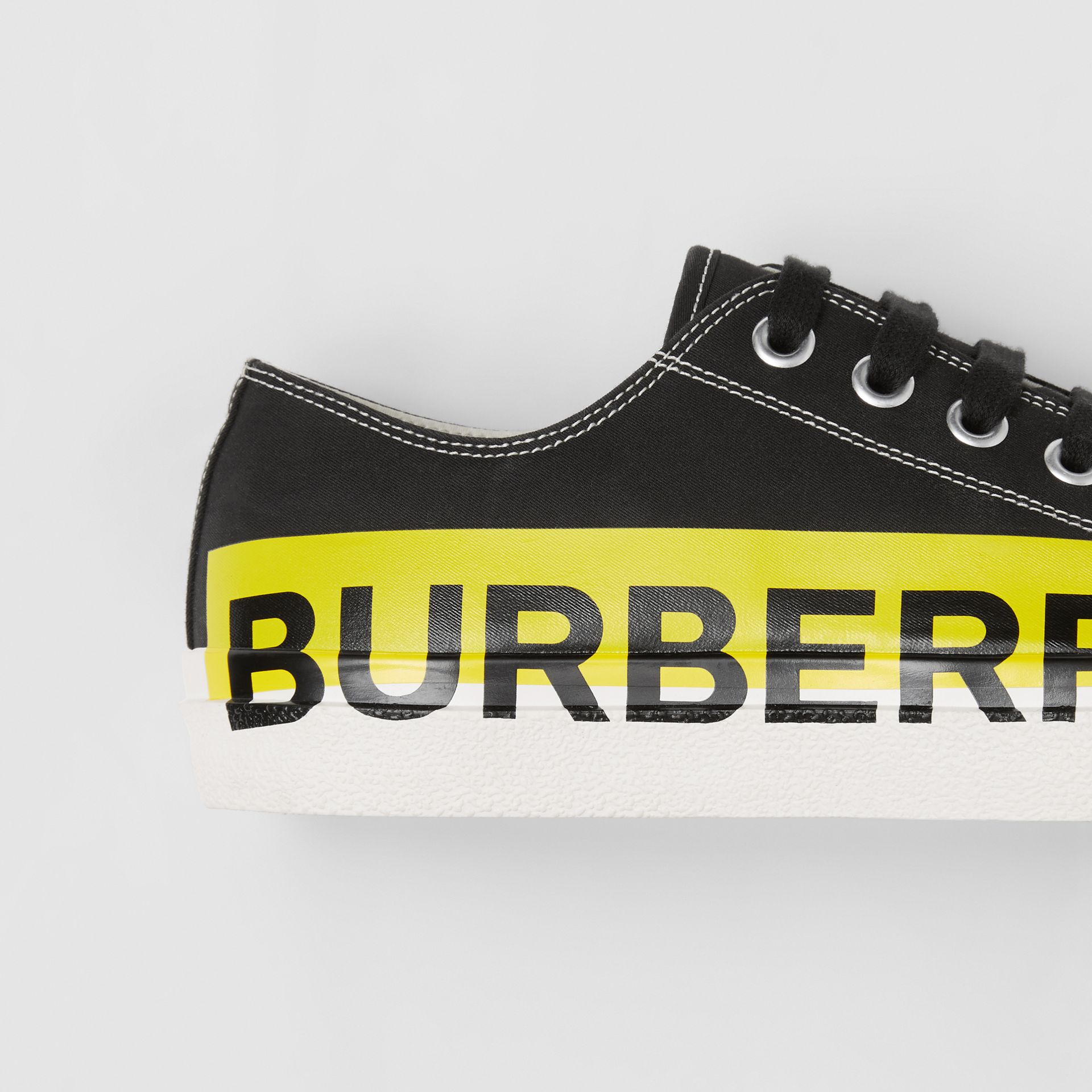 Logo Print Two-tone Cotton Gabardine Sneakers in Black - Men | Burberry - gallery image 1