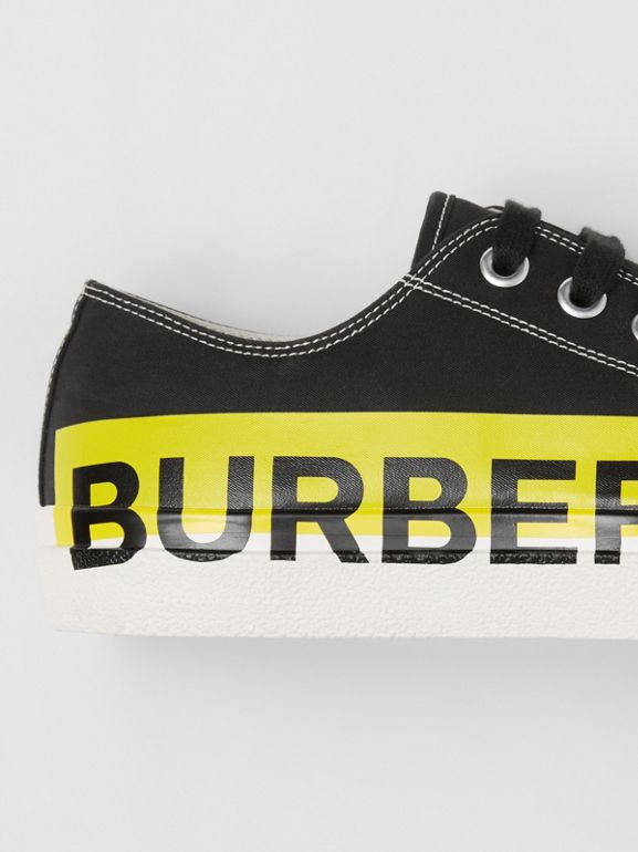 Logo Print Two-tone Cotton Gabardine Sneakers in Black - Men | Burberry - cell image 1