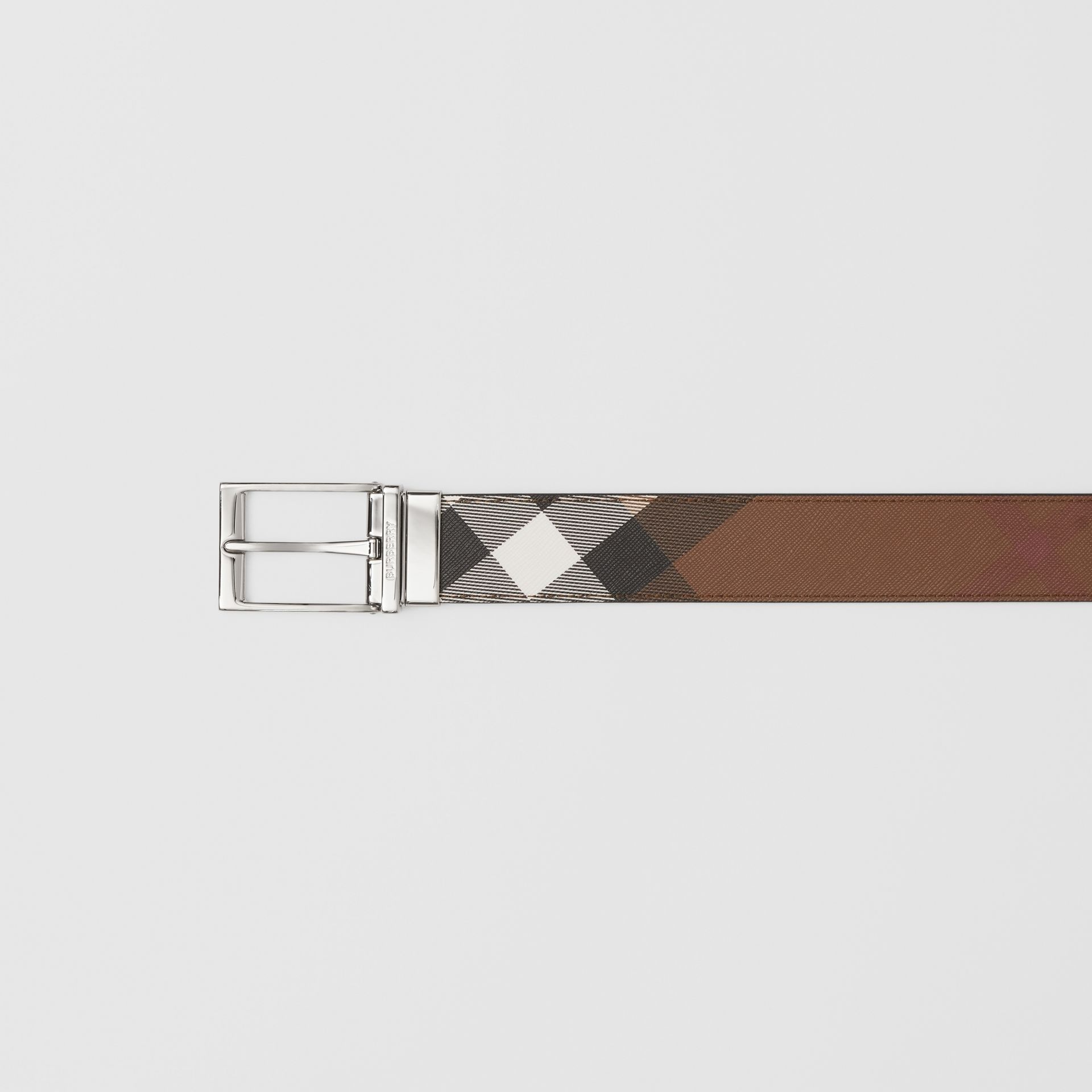 Reversible Check E-canvas and Leather Belt in Dark Birch Brown/black - Men | Burberry - gallery image 1