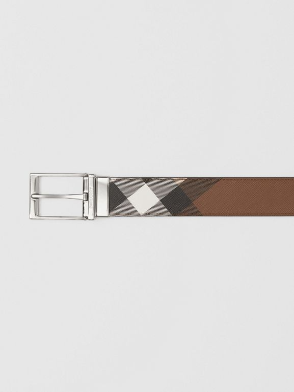 Reversible Check E-canvas and Leather Belt in Dark Birch Brown/black - Men | Burberry - cell image 1