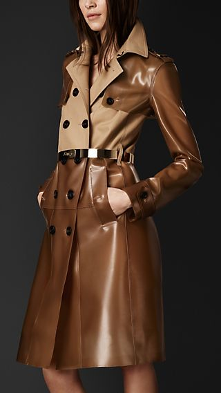 Gabardine And Vinyl Trench Coat