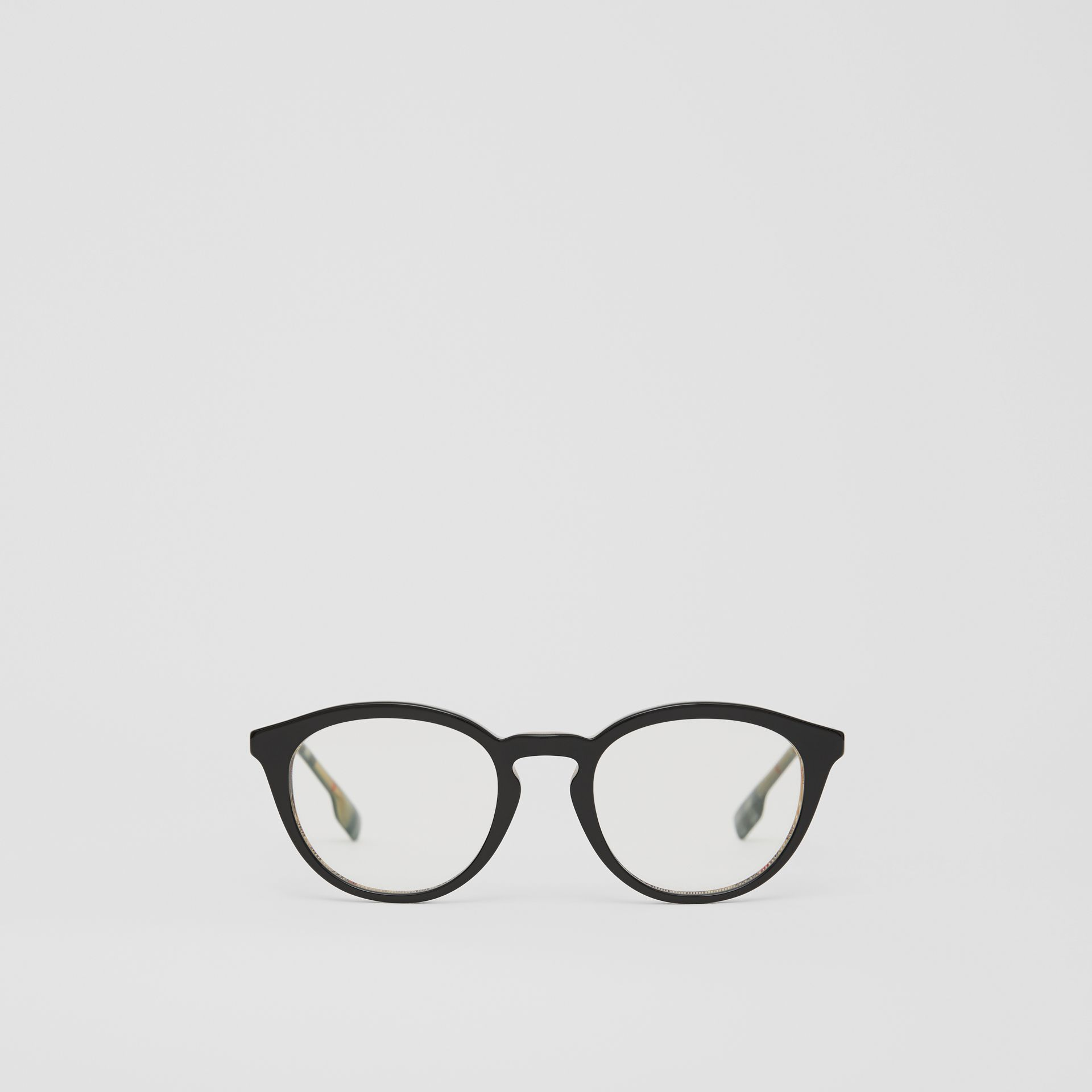 Round Optical Frames in Black/beige - Men | Burberry - gallery image 0