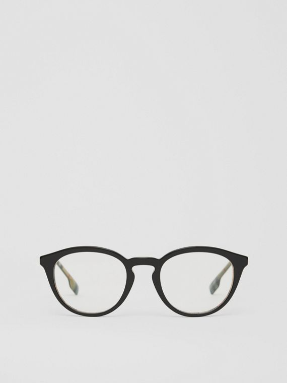 Monture ronde pour lunettes de vue (Noir/beige)