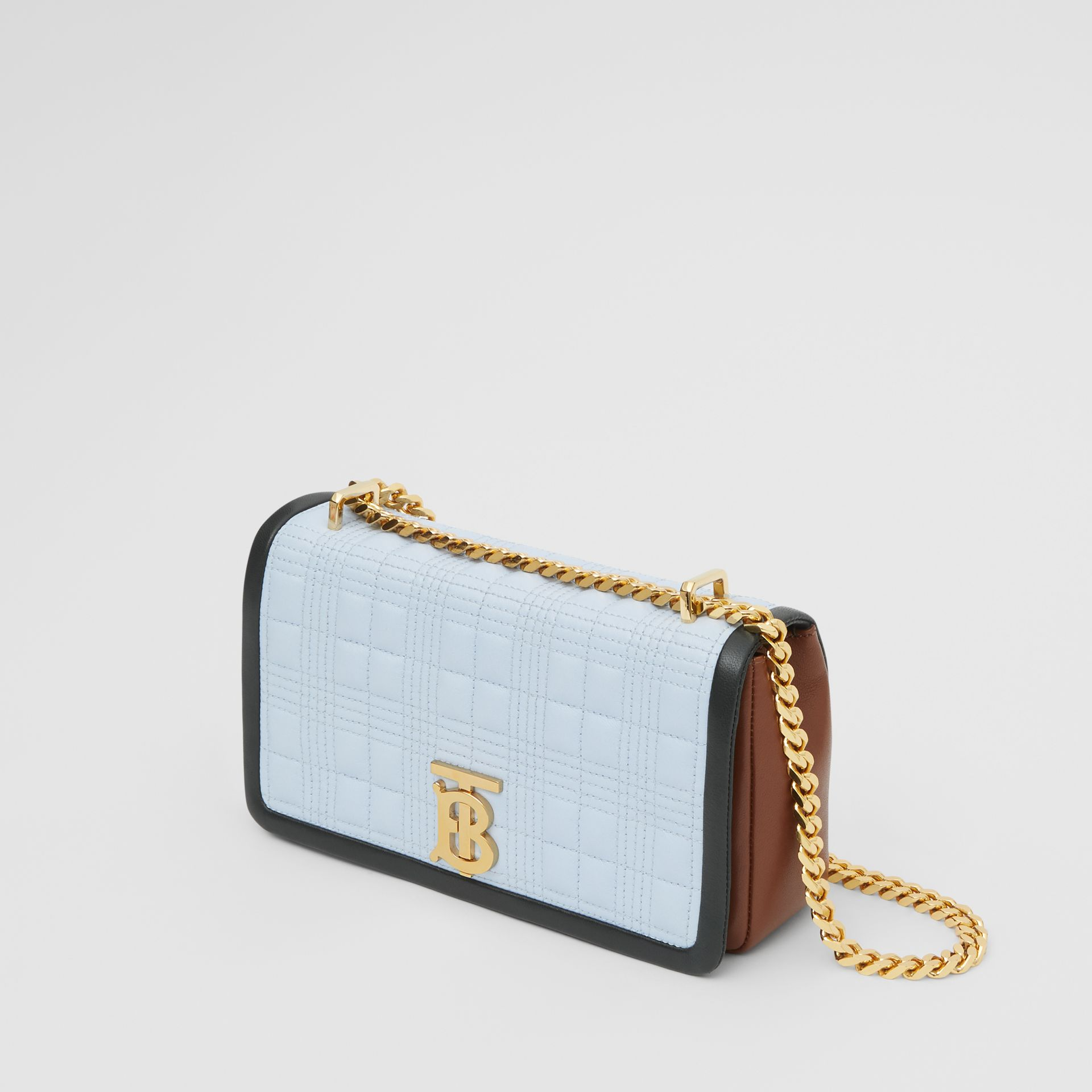Small Quilted Tri-tone Lambskin Lola Bag in Pale Blue/dark Pine - Women | Burberry - gallery image 3