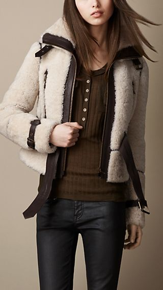 Leather Trim Shearling Jacket