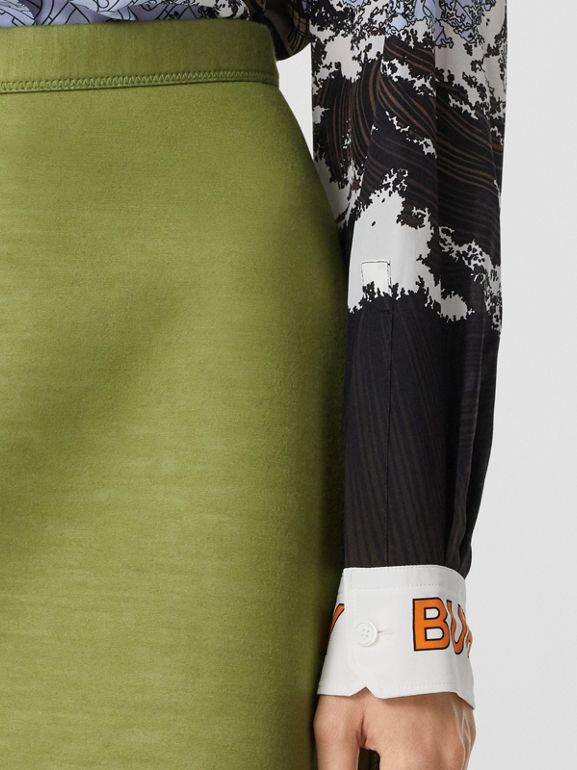 Double-faced Neoprene Skirt in Cedar Green - Women | Burberry United Kingdom - cell image 1