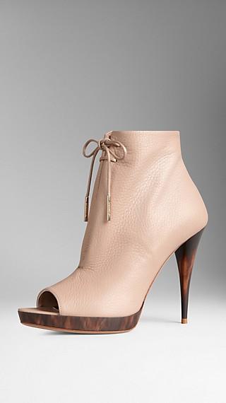 Deerskin Peep-Toe Ankle Boots