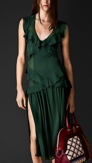 Layered Silk Ruffle Detail Dress
