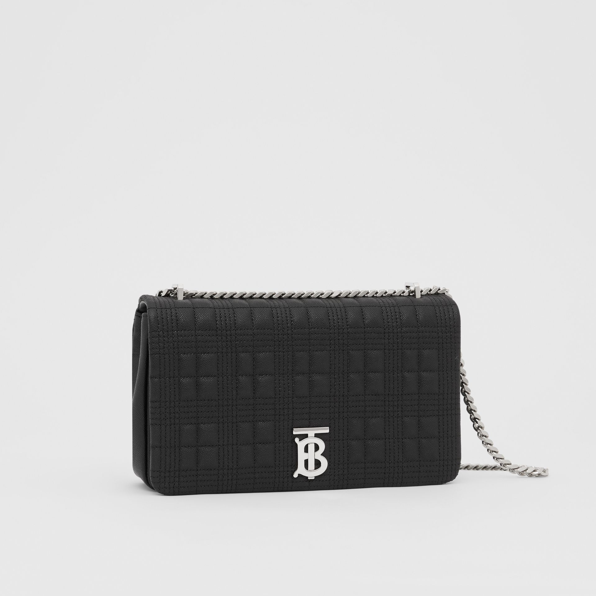 Medium Quilted Grainy Leather Lola Bag in Black/palladium - Women | Burberry United Kingdom - gallery image 6