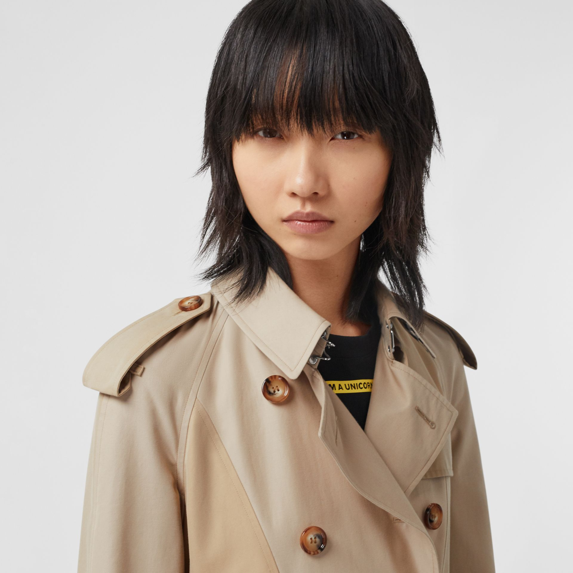 Gathered Detail Cotton Gabardine Trench Coat in Light Sand - Women | Burberry - gallery image 7