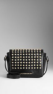 Studded Patent London Leather Crossbody Bag