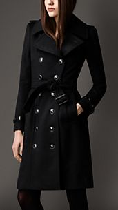 Trench coat lungo in lana e cashmere in stile regimental