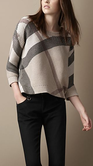 Printed Check Cotton Cashmere Sweater