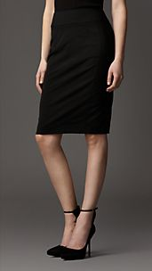 Tailored Wool Blend Pencil Skirt