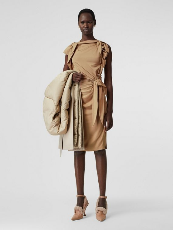 Tie Detail Tri-tone Silk Jersey Dress in Wheat
