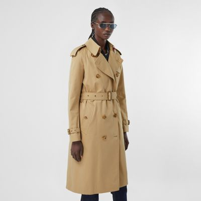 Gabardine trench coat with an archive