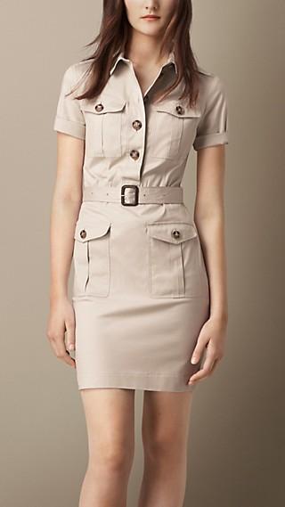 Stretch Cotton Utility Dress