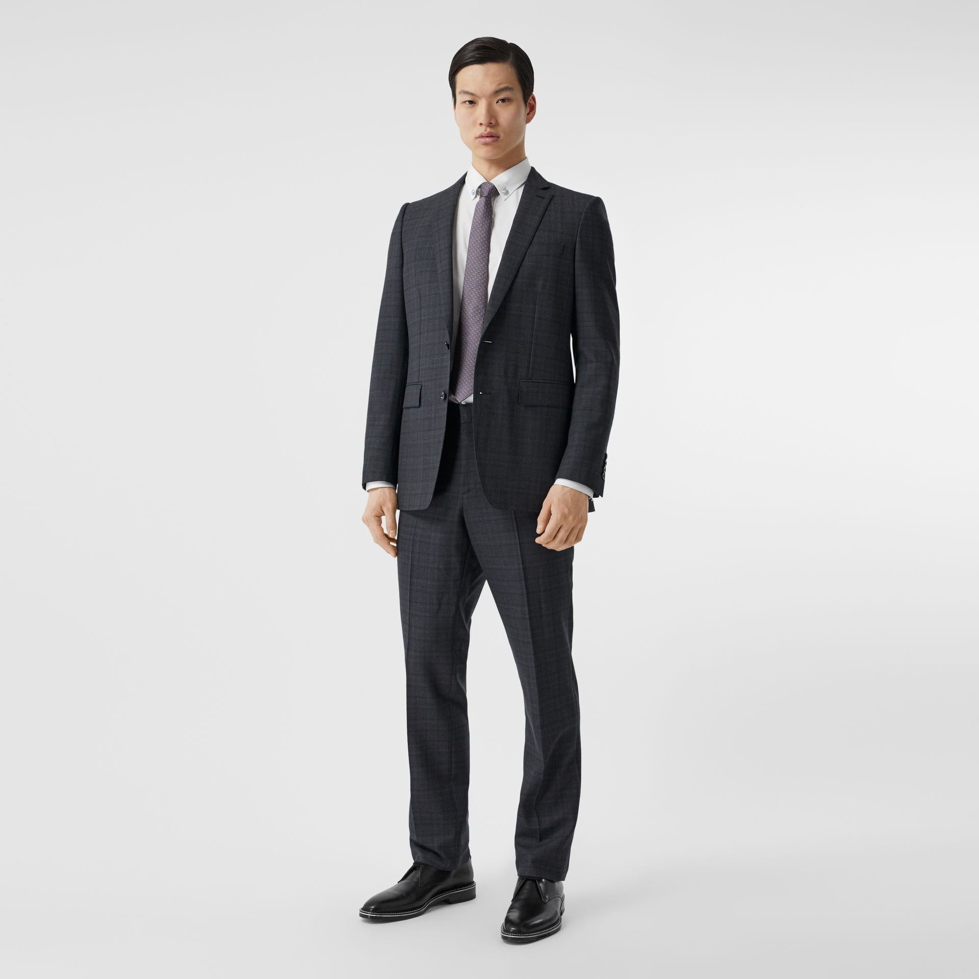 English Fit Check Wool Suit in Steel Blue | Burberry - gallery image 0